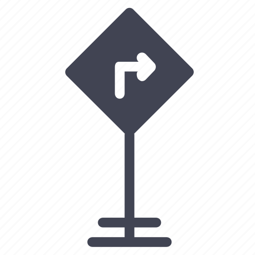 arrow, elements, right, road, street, turn icon