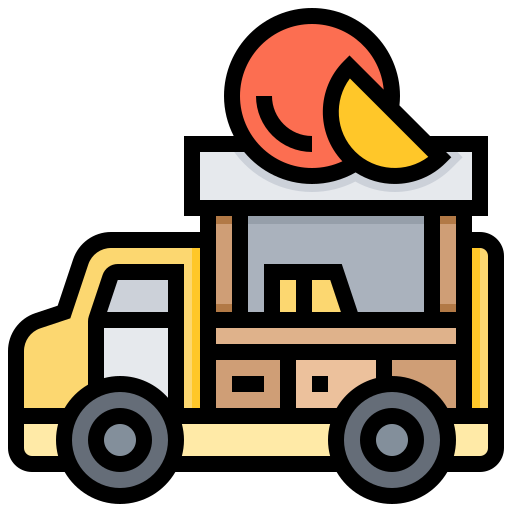 car, delivery, fruit, sell, street icon