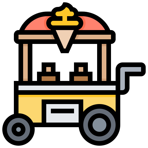 cart, cream, ice, sweets, trolley icon