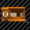 latte, truck, car, trailer, coffee, food icon