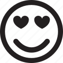 emoticon, emotion, face, heart, love, rectangle, round, smile, sweet icon