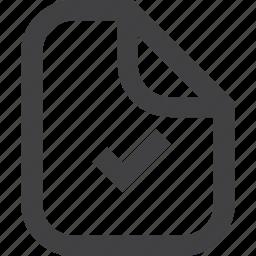 accepted, check, check box, grey, page, paper, ready, square icon