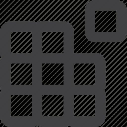 component, media, part, saparate, square icon