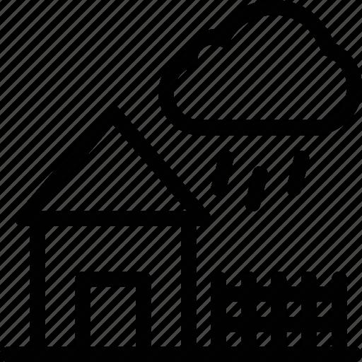 building, cloud, estate, home, house, rain icon