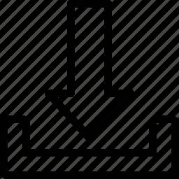 arrow, direction, download, storage icon