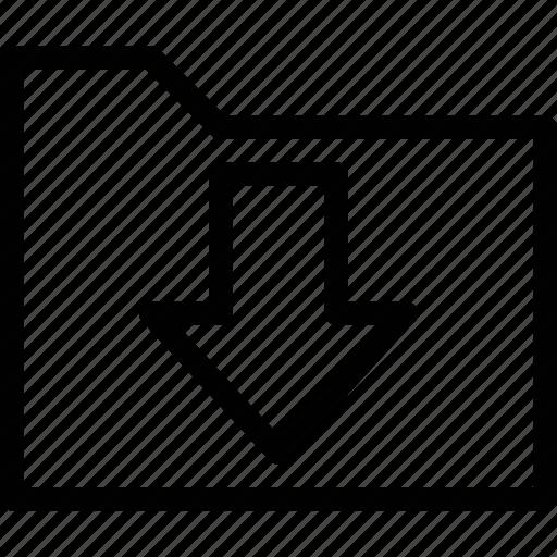arrow, document, download, folder icon