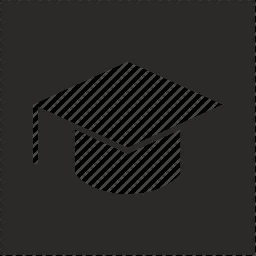 education, form, hat, school, square, study icon