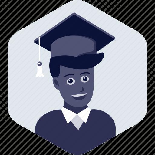 education, graduate, graduation, hat, student, study icon