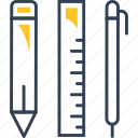 pen, pencil, ruler, study icon