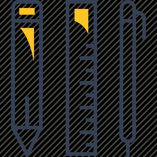 pen, pencil, ruler, study icon