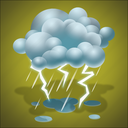 forecast, light rain, lightning, rain, storm, thunder, thunderstorm, weather icon