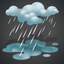 forecast, heavy rain, overcast, rain, weather icon