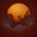 day, forecast, smoke, sun, weather icon