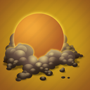 day, dust, forecast, sun, weather icon