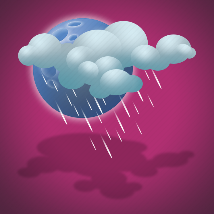 drizzle, forecast, light drizzle, moon, night, weather icon