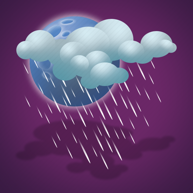 clouds, drizzle, forecast, heavy drizzle, night, weather icon