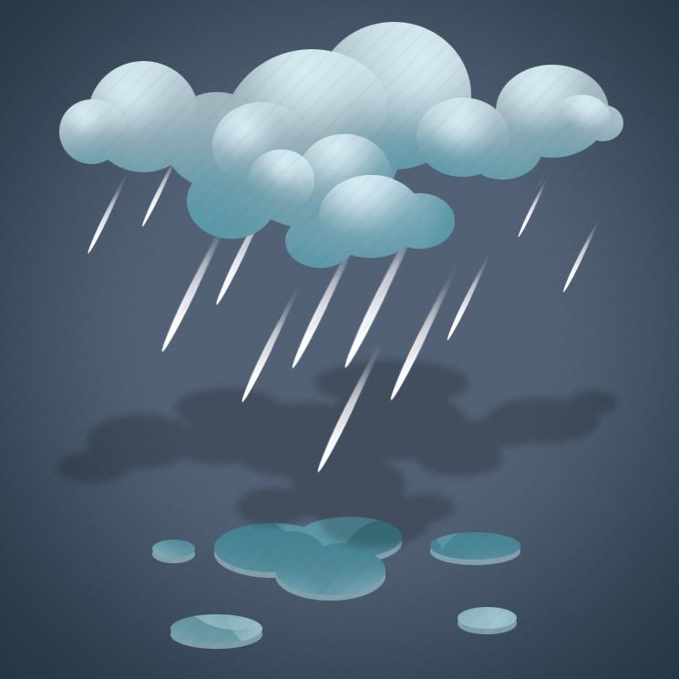 clouds, forecast, light rain, overcast, rain, weather icon