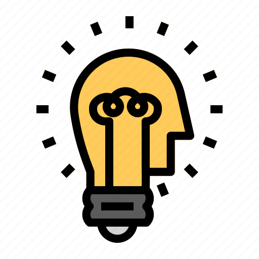 brain, idea, lamp icon