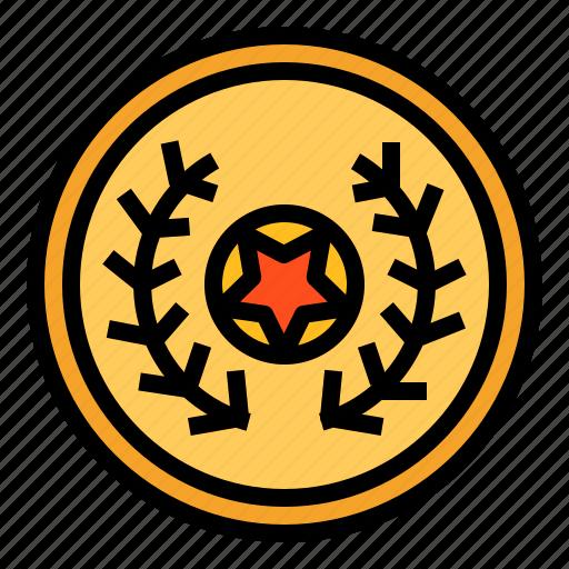 award, gold, medal, star icon