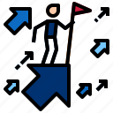arrow, flag, growth, success icon
