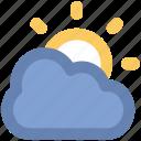 cloud, cloudy, morning, sun, sunny cloudy, sunrise, sunset, weather icon