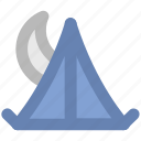beach tent, moon, night, night tent, tent, tent house icon