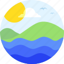 beach, landscape, ocean, surfer, swimming, tree, vacation, water, waves