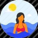 beach, diver, female, girl, ocean, scuba, scuba diving, seagulls, shark, summer, surfer, surfing, swimming, swimwear, tree, vacation, waves