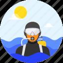 beach, diver, diving, ocean, scuba, summer, swim, vacation, waves icon