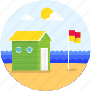 beach, flag, hut, ocean, summer, surfing, vacation, waves icon