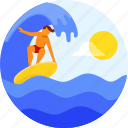 adventure, male, summer, surfer, surfing, vacation icon