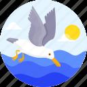 beach, bird, fishing, ocean, seagulls, vacation, water icon