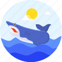 danger, fish, ocean, shark, summer, vacation icon