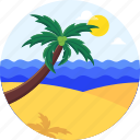 beach, holiday, landscape, ocean, palm, summer, swimming, vacation icon