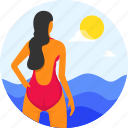 beach, diver, female, girl, ocean, summer, swimming, vacation, wear icon