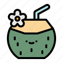 coconut, drink, food, juice, restaurant, summer, summertime icon