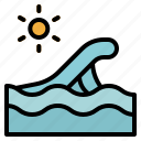 beach, ocean, sea, summer, waves, weather, wind icon