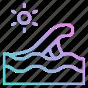 beach, ocean, sea, summer, waves, weather, wind icon