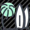 beach, holiday, ocean, palm tree, sea, summer, surf icon