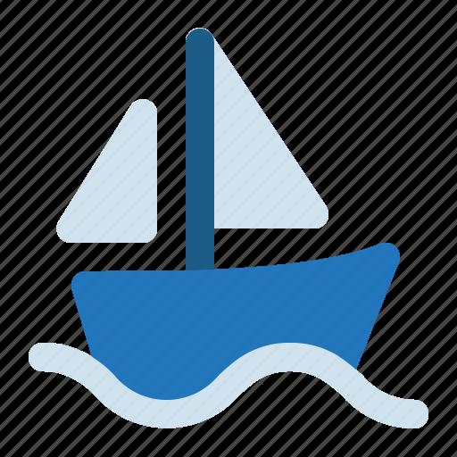 boat, sailboat, sailing, ship, summer icon