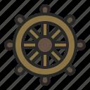 control, ocean, sea, ship, summer, wheel icon