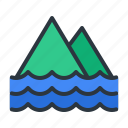 island, mountain, sea icon