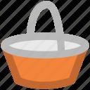 basket, bucket, food basket, hotel basket, pail, shopping basket