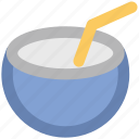 beach drink, coconut, coconut drink, cocos nucifera, healthy food, straw, tropical fruit icon