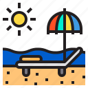 beach, bed, holiday, summer, sunset icon