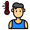 celsius, hot, summer, thermometer, weather icon