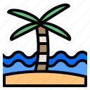 beach, holiday, palm, summer, travel icon