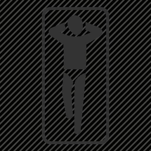 bask, man, relax, rest, summer, sunbathe, sunbathing icon