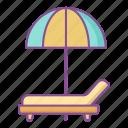 lounger, beach, sunny, umbrella