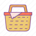 picnic, basket, shopping, camping
